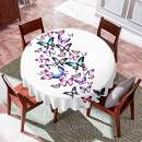 VVA Round Tablecloth - Various Types of Flying Butterflies with Open Wings - Round Table Cover for Dining Rooms and Kitchens, Indoor and Outdoor Events - 50 Inch, Purple Pink White