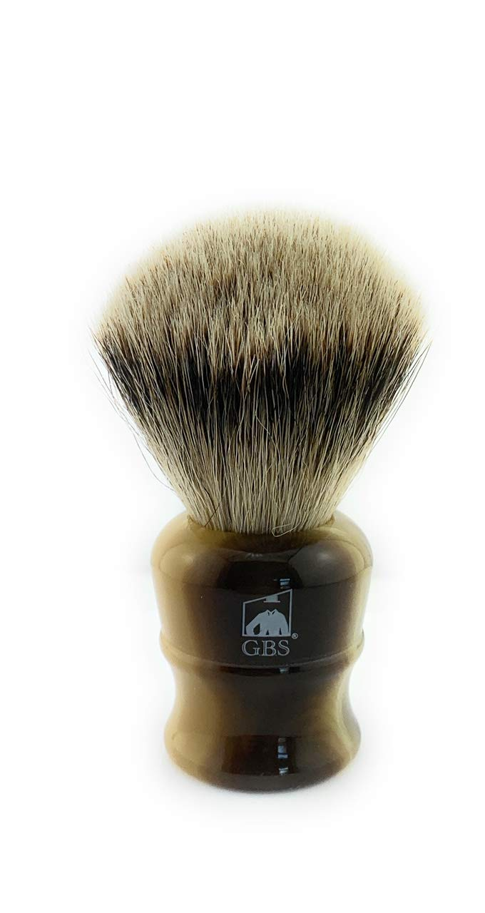 GBS 100% Super Large 26 MM Silver-tip Badger Bristle Men's Shaving Brush Faux Horn Handle Compliments any Razor Shave Soap and Cream For The Ultimate Best Wet Shave