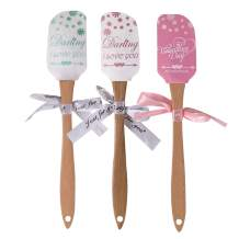 3pcs Silicone Spatulas with Wooden Handles - Heat Resistant Nonstick BPA Free Dishwasher for Baking and Mixing,Cake Spatula,Baking,SafeIcing Brownie - Valentine's Day