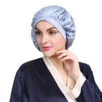 LilySilk Silk Sleeping Cap for Women Girls Traceless Curly Hair Half Elastic 100 Real Mulberry Silk 19 Momme Light Blue