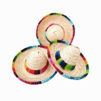 Crazy Night Natural Straw Mini Sombrero Mini Mexican hat,Tabletop Party Supplies,Fiesta Party Birthday Party Decorations Cinco de Mayo Party(Pack of 6)