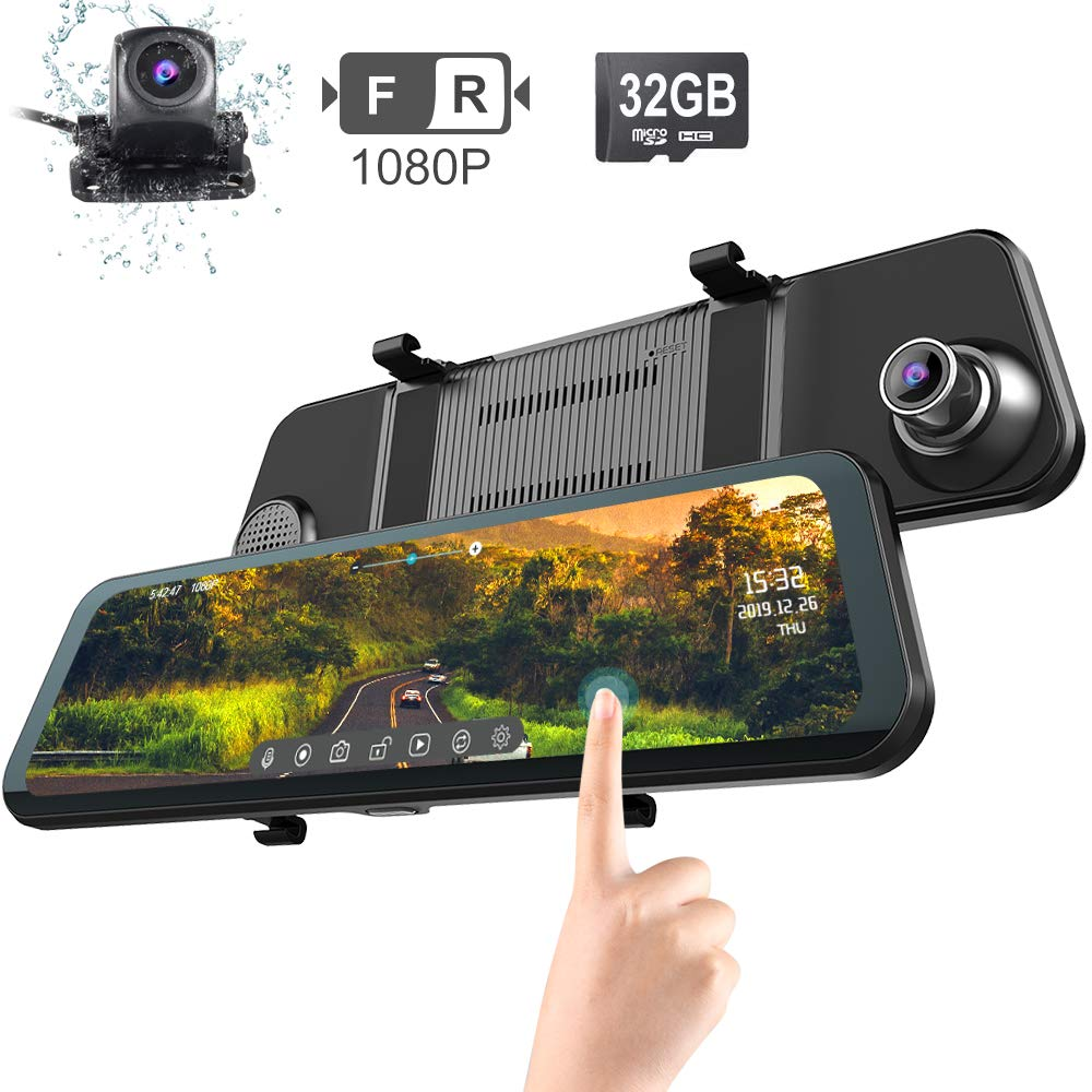 Mirror Dash Cam for Car Fodsports 12'' Backup Camera 2K Stream Media Anti-Glare Full Touch Screen Reverse Camera 1080P Night Vision Front and Rear with Parking Monitor, G-Sensor, Loop Recording