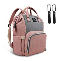 Hafmall Diaper Bag Backpack - Waterproof Multifunctional Large Travel Nappy Bag (Pink Gray)