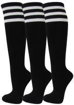 Couver Black Women Cotton Triple Stripes Tube Knee High Stocking Socks 3-pack