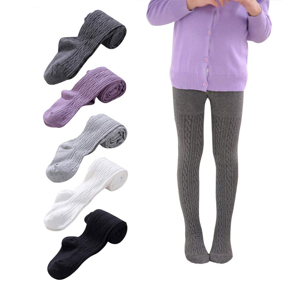 Baby Girls Tights 3 Pack Toddler Princess Cable Knit Cotton Leggings Stocking Pants
