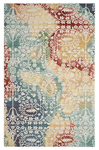 Safavieh Mystique Collection MYS926T Vintage Watercolor Blue and Rust Distressed Area Rug (8' x 10')