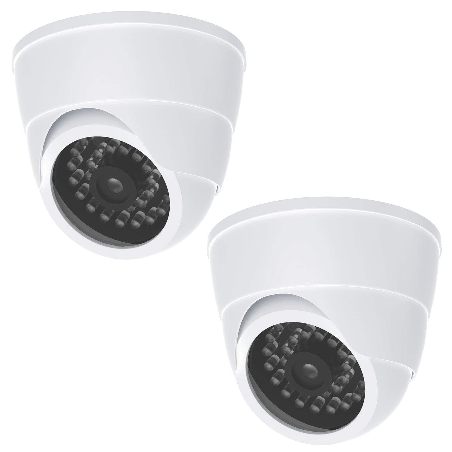 Dummy Fake Security CCTV Dome Camera 1 Flashing Red LED Light with Security Alert Sticker Decals (SDW-2B), 2 Pack, White