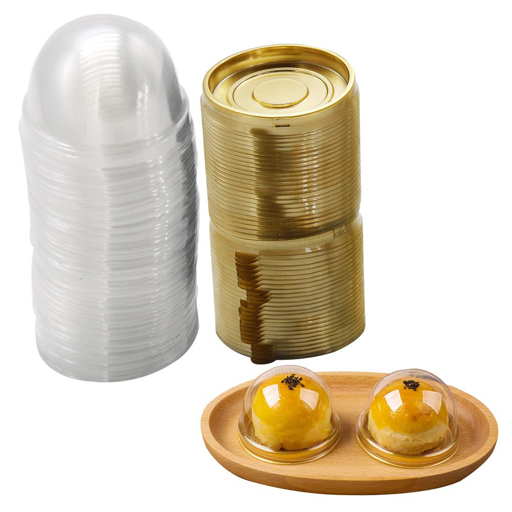 50 Pcs Individual Cupcake Containers Mini Cake Dessert Single Muffin Pod Plastic Boxes Carrier Holder With Lid (Gold)