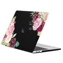 """TOP CASE MacBook Pro 13 inch Case 2019 2018 2017 2016 Release A2159, A1989, A1706, A1708, Watercolor Roses Graphics Rubberized Hard Case Compatible MacBook Pro 13"""" W/WO Touch Bar – Black Base"""