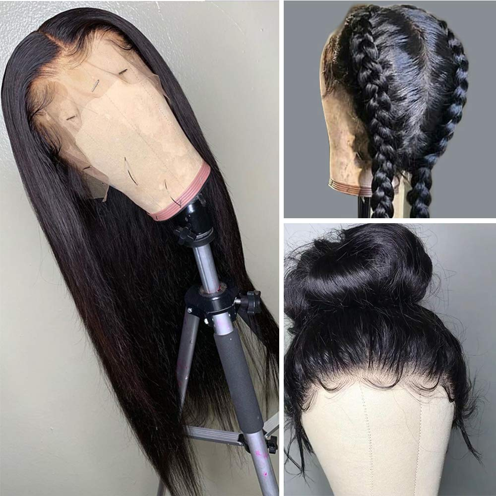 """Straight Wigs Human Hair, VIPbeauty 150% Density Glueless Brazilian Straight Remy Human Hair Lace Frontal Wig for Black Women Pre Plucked with Baby Hair(16"""", Nature Color)"""