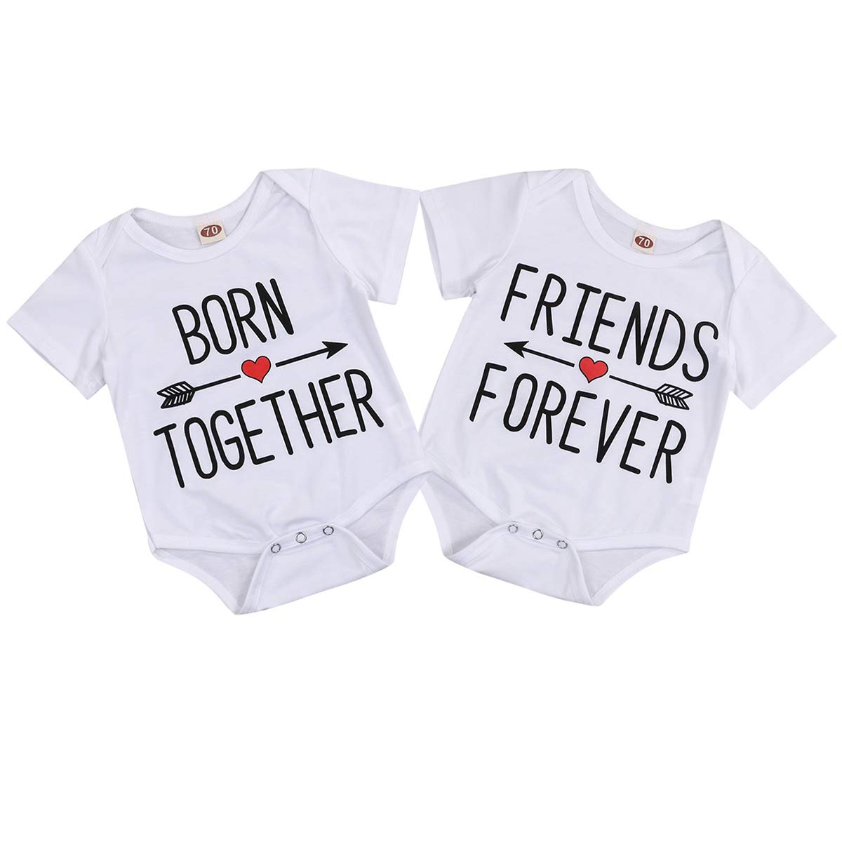 Twins Siblings Newborn Baby Romper Outfit Born Together Friends Forever Matching Bodysuit Clothes