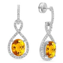 Dazzlingrock Collection 10K 10X8 MM Each Oval Gemstone & Round White Diamond Ladies Dangling Drop Earrings, White Gold