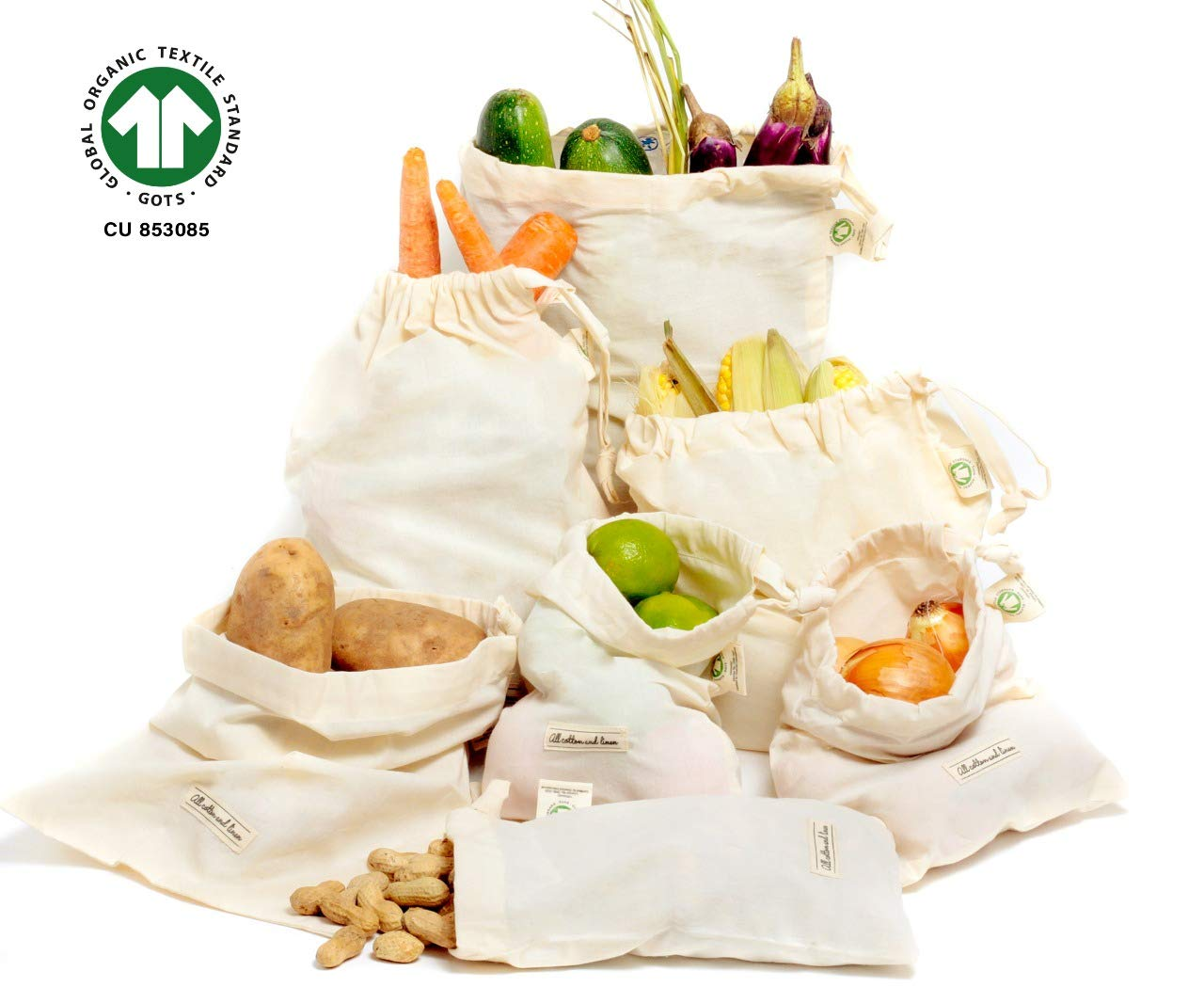 Small Cotton Muslin Bags - Cloth Produce Bags Organic - Cotton Produce Bags - Small Muslin Bags - Muslin Grocery Bags - Muslin Produce Bags, Set of 7 Small Bag (2 M, 3 S, 2 XS) Washable, Biodegradable