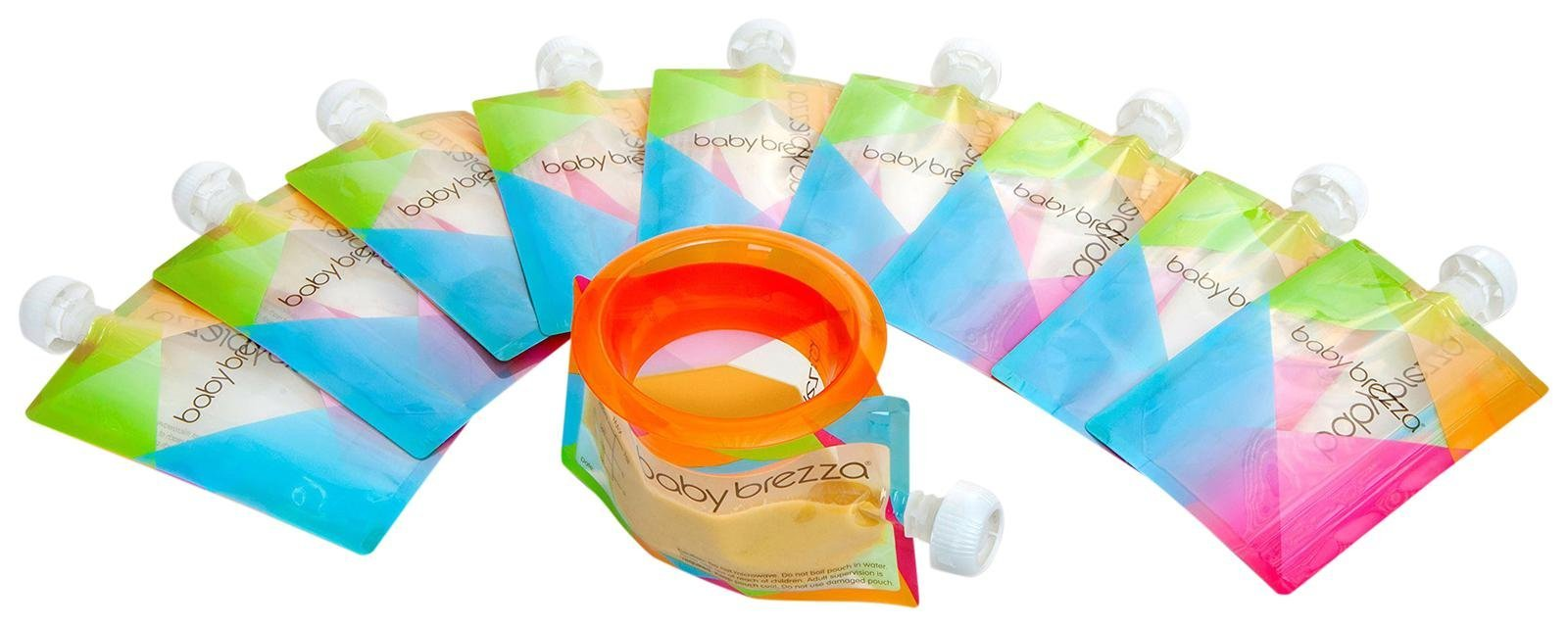Baby Brezza Reusable Baby Food Storage Pouches, 10 Pack 7oz - Make Organic Food Puree for Kids or Toddlers and Store in Refillable Squeeze Pouches, Bulk Set is Freezer Safe & Washable