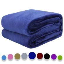 "Auchen Flannel Fleece Blanket Throw Blue Home Blanket,Fluffy Blanket Warm Bed Throws for Sofa and Pet,Exquisite Comfortable Deep Blue Flannel Fleece Blanket 130(50"") x150(60"") cm"