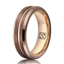 Luxffield Mens Tungsten Wedding Band 6mm 8mm Thin Blue/Rose Gold/Black Centre Groove Engagement Promise Rings Comfort Fit Size 7.5 to 13
