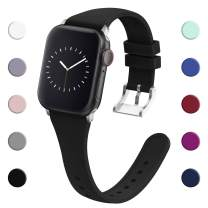 adepoy Compatible with Apple Watch Band 38MM 40MM 42MM 44MM for Women Men, Soft Silicone Narrow Slim Replacement Sport Wristbands for iWatch Series 5 4 3 2 1