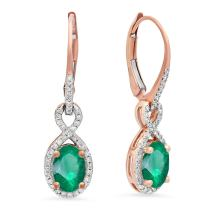 Dazzlingrock Collection 10K 7X5 MM Each Oval Lab Created Gemstone & Round Diamond Dangling Drop Earrings, Rose Gold