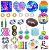 Caiji Fidget Toys Pack, Fidget Toy Set Fidget Pack Sensory Relieves Stress Anxiety for Kids Adults, Fidget Pack with Simple Dimple in It, Tie Dye Push Pop Bubble Toy &More