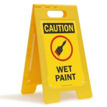 "SmartSign ""Caution - Wet Paint"" Folding Floor Sign | 25"" x 12"" Plastic"
