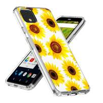 Google Pixel 4 Case,Topnow Clear Design Plastic Hard Back with TPU Bumper Protective Cover - Sunflower