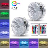 GLODD 2 Pack Submersible LED Lights with Remote, Magnets,10 LED Waterproof Underwater Decoration Lights Battery Operated 16 Color Changing Lamp for Pool, Pond, Aquarium, Bathtub, Shower