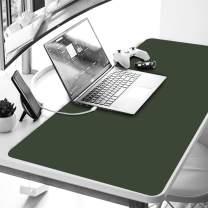 """YAPISHI Gaming Mouse Pad Office Desk Pad Protector Dual-Side Use Leather Desktop Writing Blotter Mat Cover for PC Laptop Keyboard, Non-Slip Waterproof 31.4x15.7x0.05"""" Ultrathin (Green & Gray)"""