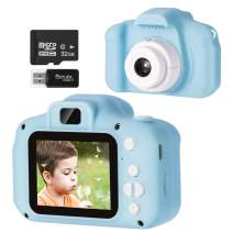 Vbepos Kids Camera, Digital Camera Toys for 3-10 Year Old Boys Girls, 1080P HD Camcorder Shockproof Video Recorder with 32GB SD Card, Indoor Outdoor Games Birthday Gift for Learning, Blue