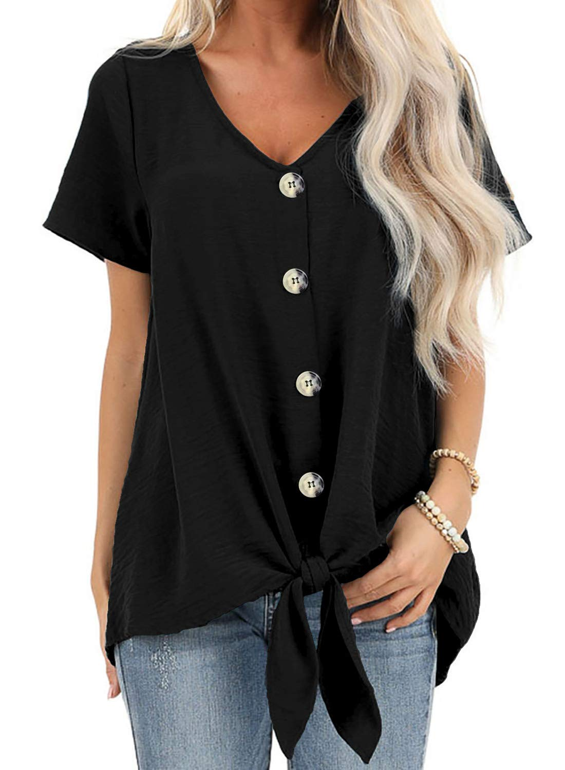 ZKESS Women Casual Long Sleeve Button Down V Neck Knot Twist Fashion Blouse and Tops