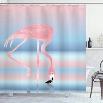 """Ambesonne Flamingo Shower Curtain, Illustration of Royal Flamingo in The Lake Soft Pale with Romantic Colors Art Work, Cloth Fabric Bathroom Decor Set with Hooks, 84"""" Long Extra, Pink Blue"""