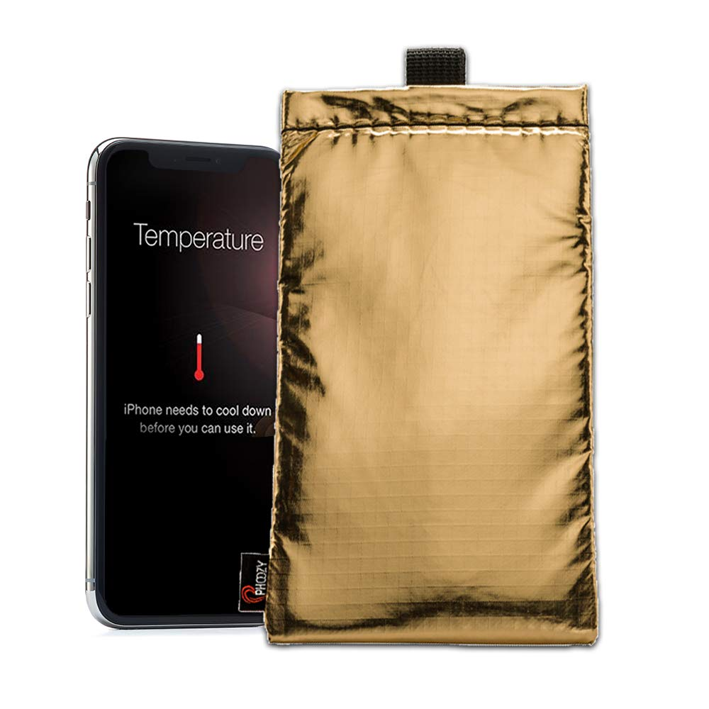 PHOOZY Apollo Series Thermal Phone Case - Protects from Overheating, Floats in Water, Barrier to Germs, Drop Tested. for iPhone 8/X/Xs/11Pro/SE(New), S10/S20 and Similar Phones [Gold - Plus Size]