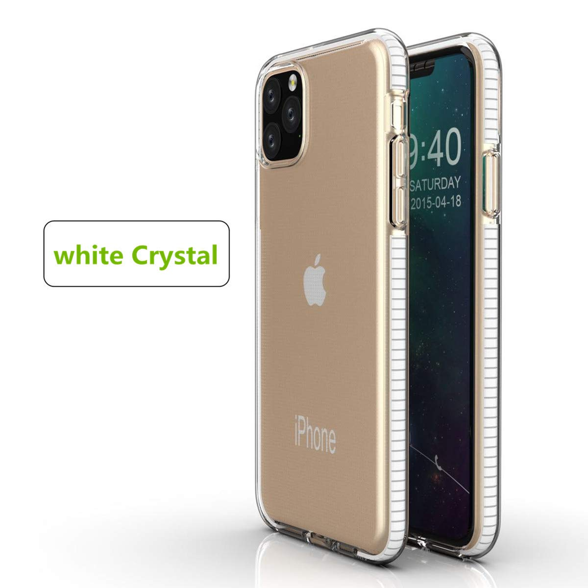 LucaSng Compatible with iPhone 11 Pro Max Case, Clear iPhone 11 Cases Cover for iPhone 11 Pro Max 6.5 Inch Crystal Clear Case Shockproof Protection Soft Scratch-Resistant TPU Cover (White)