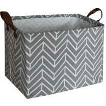 ESSME Rectangular Fabric Storage Box,Collapsible Storage Basket Bins Organizer with Handles for Kids Room,Shelf Basket,Toy Organizer (Grey Geometry)