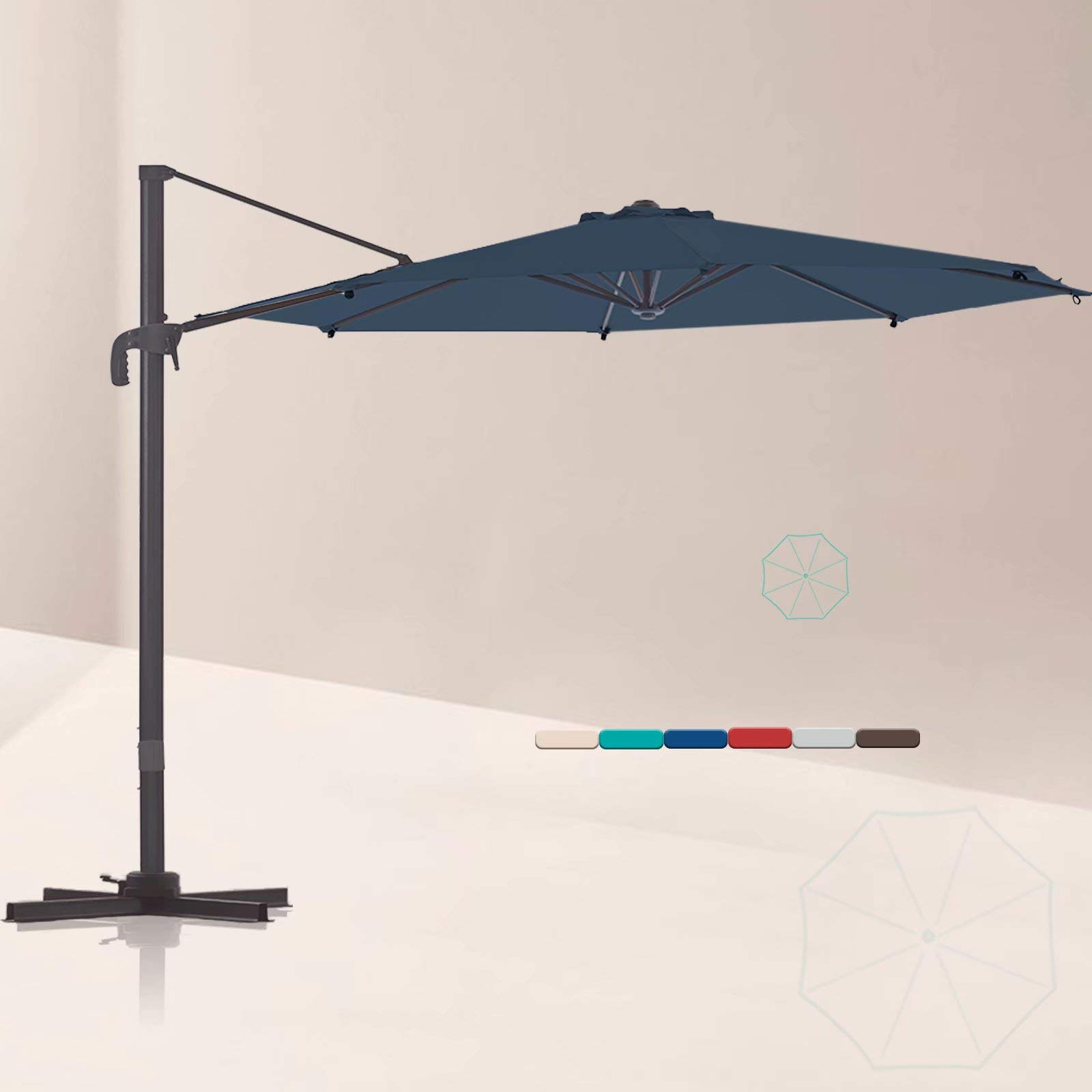 LE CONTE 10 ft. Cantilever Umbrella with 360 Degree Rotation | Outdoor Aluminum Offset Patio Umbrella Market Hanging Umbrellas | Solution Dyed Fabric, Integrated Tilting and Cross Base (Classic Blue)