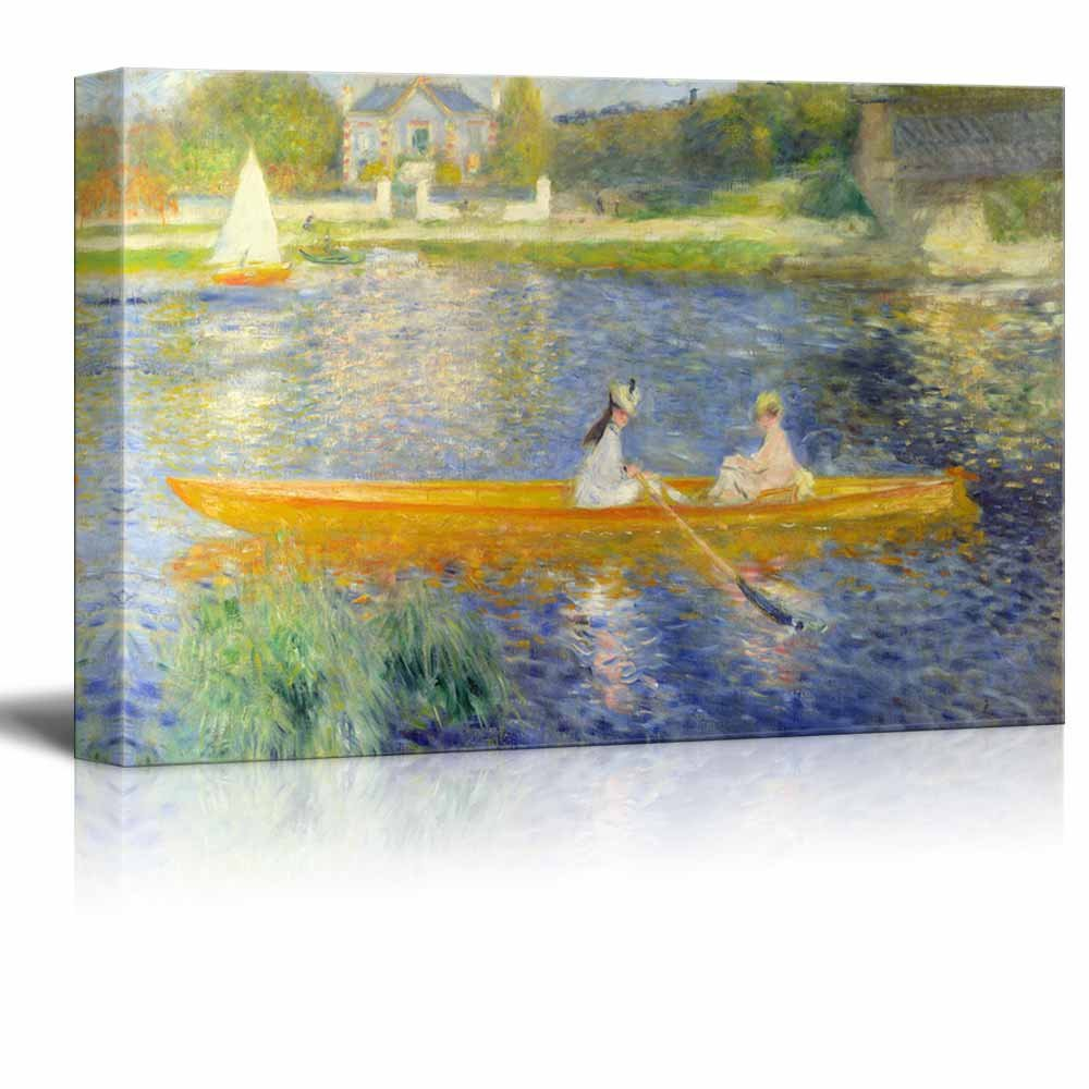 """wall26 - The Seine at Asnieres Aka The Skiff by Pierre Auguste Renoir - Canvas Print Wall Art Famous Oil Painting Reproduction - 32"""" x 48"""""""