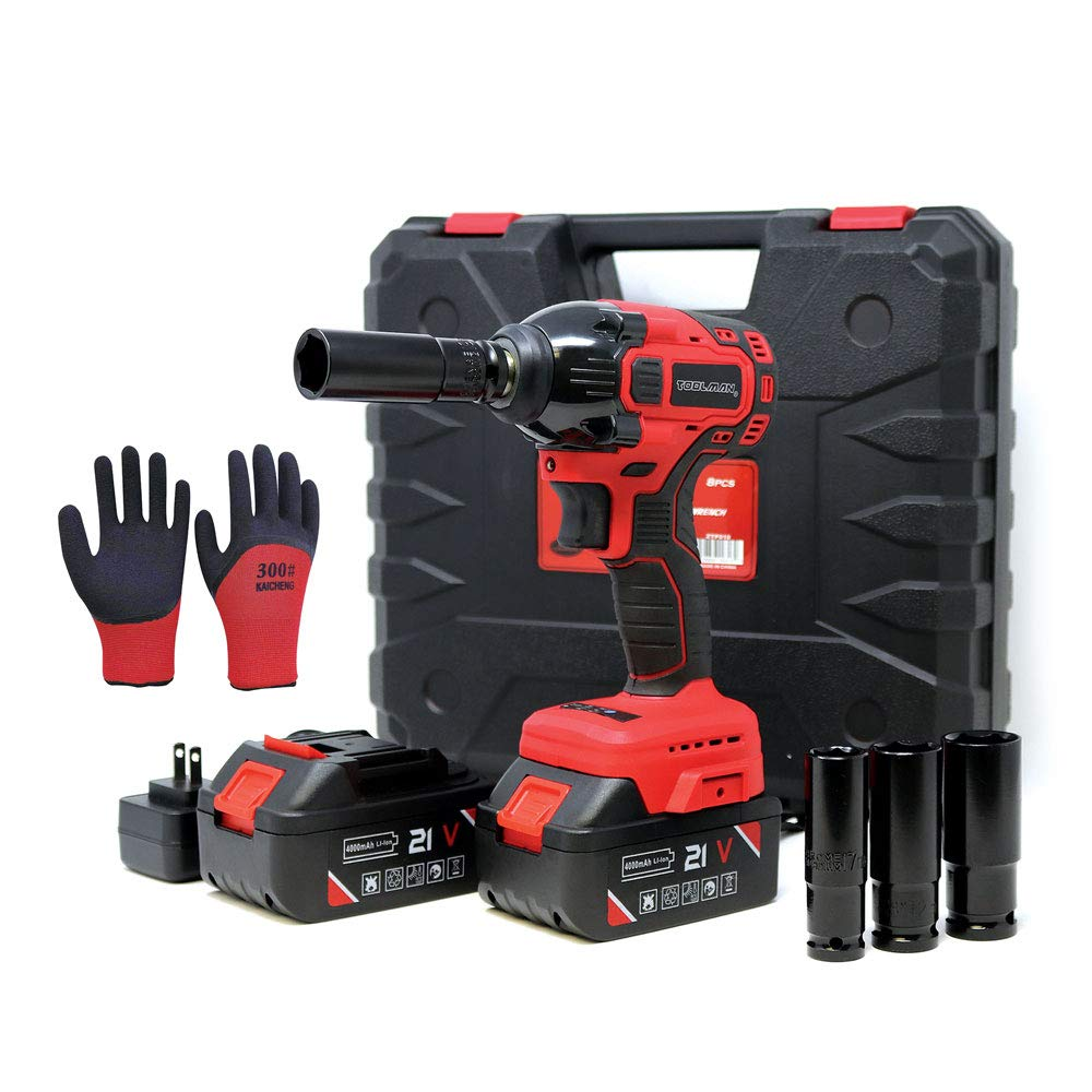 """Toolman Rechargeable Lithium-ion cordless Power Impact Wrench kit 1/2"""" 21V with Drill Set Led Light Free Case & Work Gloves (2 Batteries)"""
