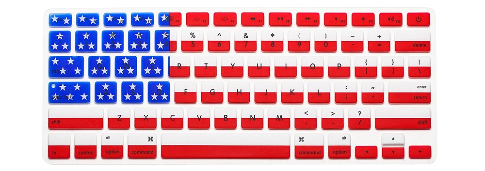 HRH Silicone Keyboard Cover Skin for MacBook Air 13,MacBook Pro 13/15/17 (with or w/Out Retina Display, 2015 or Older Version)&Older iMac USA Layout,American USA Flag