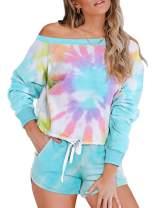 MEROKEETY Womens Tie Dye Printed Pajamas Set Long Sleeve Tops and Shorts 2 Piece PJ Sets Loungewear Sleepwear