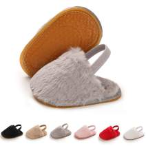 BENHERO Infant Baby Girls Slippers Faux Fur Slides with Elastic Back Strap Flats First Walker Moccasins Shoes