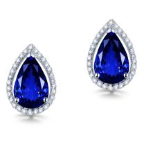Lanmi 14K White Yellow Gold Genuine Tanzanite Diamond Dangle Drop Earrings Studs for Women Ladies Engagement Wedding