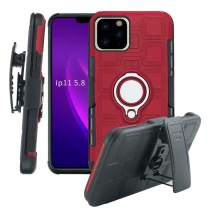 Lantier High Impact 3 Layer Hybrid Full Shockproof Armor Rugged Holster Protection Case with Kickstand Magnet 360 Degree Rotating Ring Belt Swivel Clip for iPhone 11 Pro 5.8 Inch (2019) Red