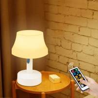 DEEPLITE LED Night Light, Portable Simple Nursery Lamp with Remote Control and Timer, Dimmable Table Desk Lamp Battery Operated or USB Charging for Bedroom Living Room Kids Room, Warm and Cool Light