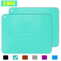 "2 Pack Large Silicone Trivet Mats/Hot Pads, Heat Resistant Pot Holder,9""x12"" Non Slip Flexible Durable Pot Coaster Kitchen Table Mats (Teal)"