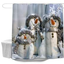"""Colorful Star Winter Snowmen Shower Curtains with Hooks for Kids Bathroom Polyester Fabric Waterproof Decorative Bathroom Curtains Sets for Shower 72"""" W x 72"""" L - Snowman"""