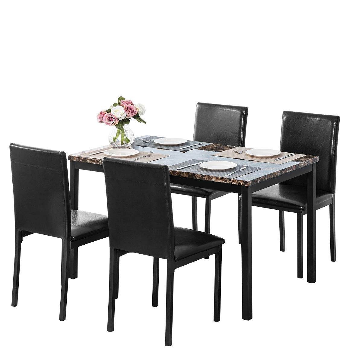 LTTROMAT Dining Table Set for 4, Elegant Faux Marble Desk and 4 Upholstered PU Leather Chairs, Perfect for Living Room