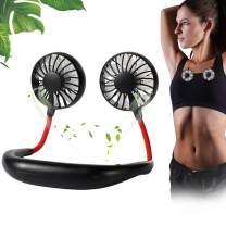 Portable Fan, Neck Fan, Hand Free Mini USB Fan, Bladeless Personal Fan with 2 Heads Fan Double, 360 Degree Adjustment Head for Office Travel Outdoor Camping