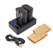 Bonadget 2 Pack LP-E6 Replacement Battery Charger Compatible with Canon C700, XC15, EOS 60D, 70D, 80D, 5D Mark II III IV, 5DS, 5DS R, 6D, 7D Camera BG-E14, BG-E13, BG-E11, BG-E9, BG-E7, BG-E6