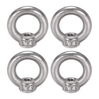 uxcell Lifting Eye Nut M4 Female Thread 304 Stainless Steel Round Shape for Rope Fitting Pack of 4