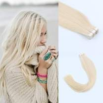 """Lovrio 22"""" 20pcs 50g Tape in Human Hair Extensions Color 60 Platinum Blonde Prime Silky Straight Skin Weft Remy Human Hair"""