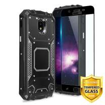 TJS Phone Case for Galaxy J3 2018/J3 V/Express Prime 3/J3 Star/J3 Orbit/J3 Achieve/J3 Prime 2/Amp Prime 3, [Full Coverage Tempered Glass Screen Protector] Aluminum Metal Magnetic Support (Black)